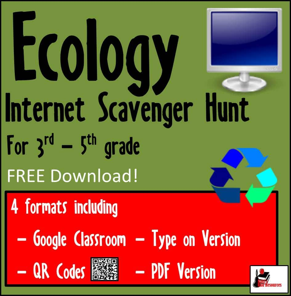 Free Ecology Internet Scavenger Hunt for 3rd Grade