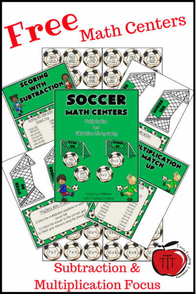 multiplication and subtraction math centers for 3rd grade, 4th grade, and 5th grade