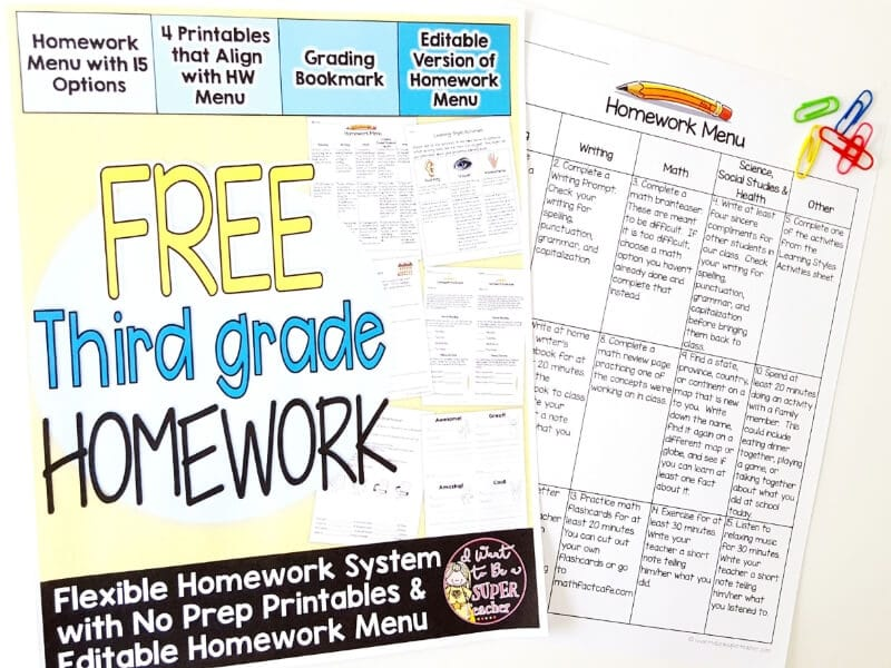 Looking for a creative homework solution? Try homework menus! Use this FREE 3rd grade homework menu (it's editable!) and printables to get started with homework choice boards in your classroom. Plus, get tips on how to organize your homework practices using menus to motivate your kids and differentiate through choice. Click for details & free printables to get you started. #free #education #homework #homeworkmenus #differentiation #thirdgrade #freebies #teach #teacher #elementaryeducation #elementaryclassroom #teacherspayteachers #tpt