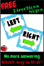 Free Left  and Right Classroom Direction Signs