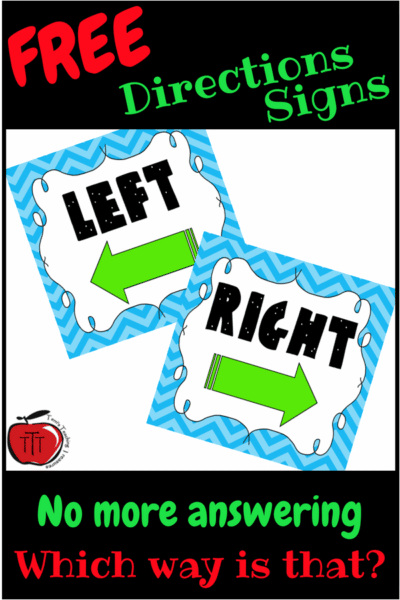 left and right classroom directions sign