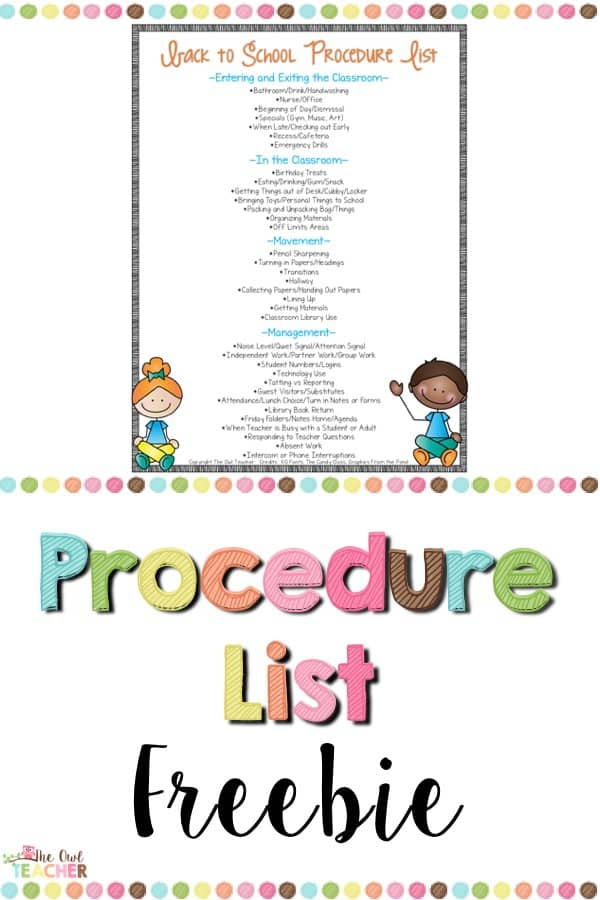 Start your school year off right with this free procedures list to make sure your classroom management runs smoothly!