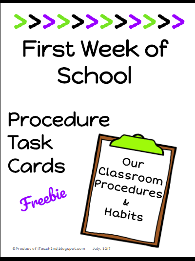 First Day of School Procedure Task Cards