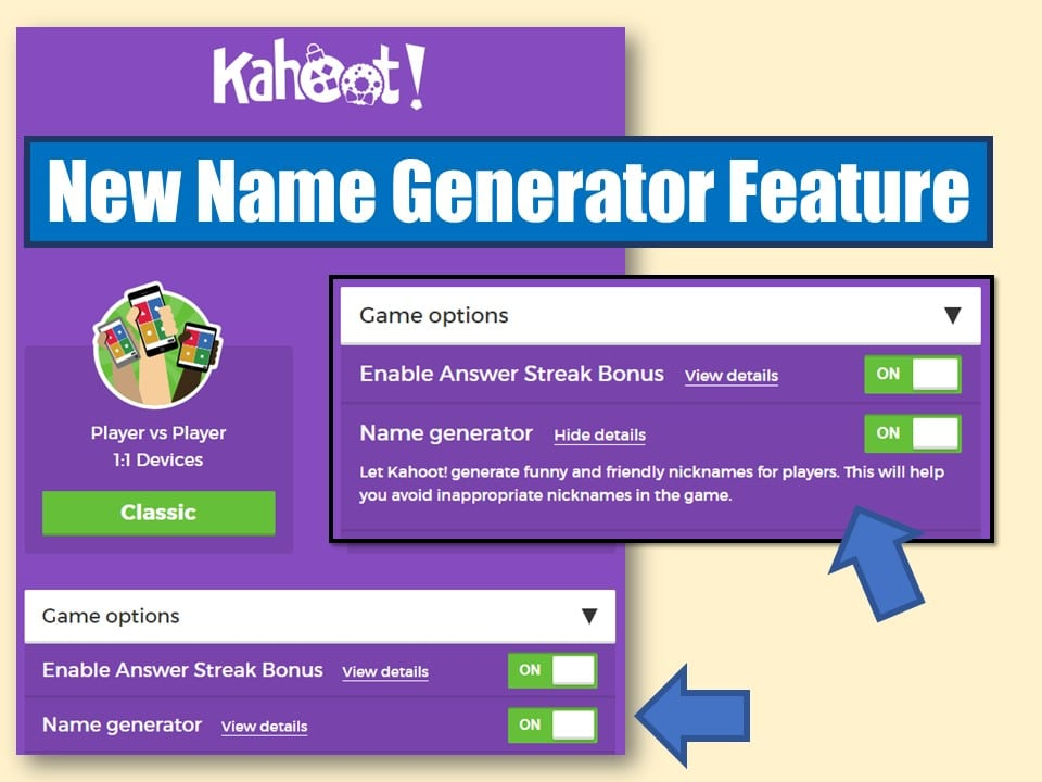 Kahoot - Name Generator and Challenge Features - Classroom Freebies