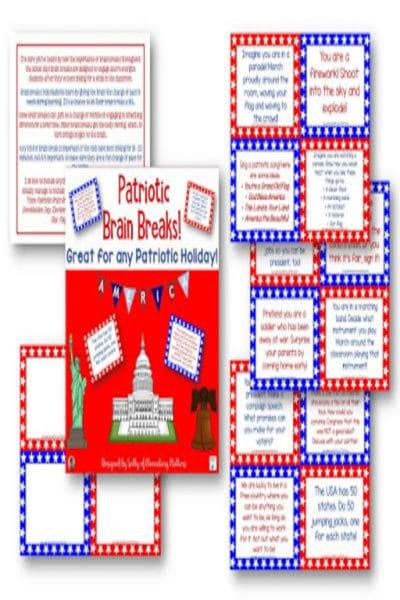 Patriotic Brain Breaks #classroomfreebies