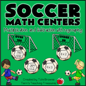 subtraction center and multiplication center for 3rd grade, 4th grade, adn 5th grade students