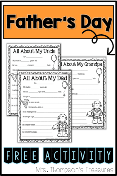 All About My Dad – Father's Day Printable