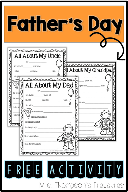 graphic about Father's Day Fill in the Blank Printable identified as All More than My Father - Fathers Working day Printable - Clroom Freebies