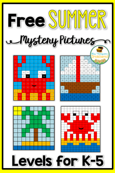 Free summer math activities to prevent the summer slide! #summerslide #summermath #mysterypictures