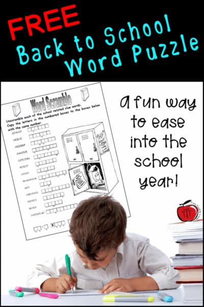back to school word puzzle Terri's Teaching Treasures