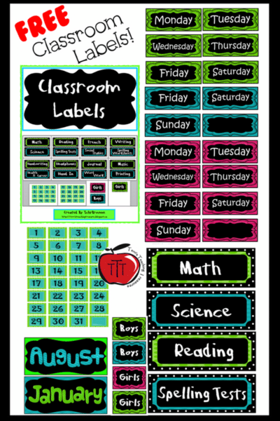 Free classroom labels Terri's Teaching Treasures