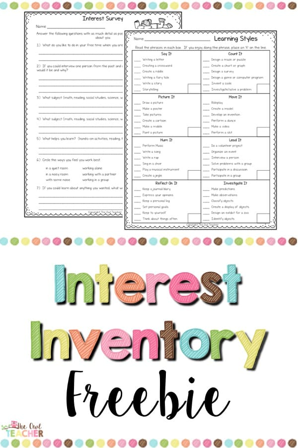 Get to know your students with this free interest inventory that is going to help you with teaching and your students be successful all year!