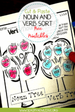Noun and Verb Cut and Paste Interactive Worksheets