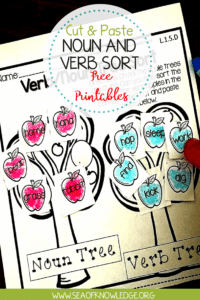 Noun and Verb Sort Worksheet