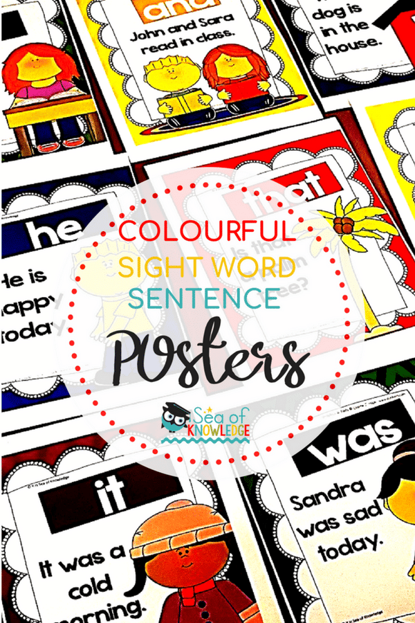 High Frequency Word Sentences Posters