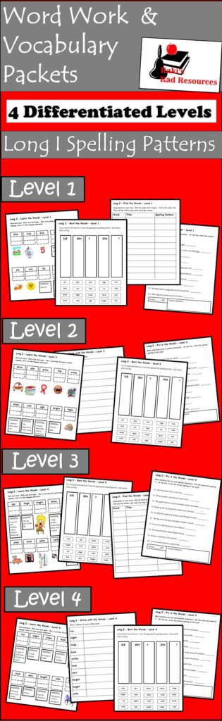 Vocabulary and Spelling Patterns Packets - Long I Spelling Pattern - FREE