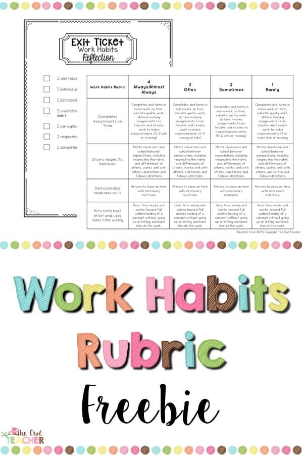Increase your students' work habits with this classroom management tool! Help students reflect on their work habits behavior and give them a rubric to see what is expected of them!