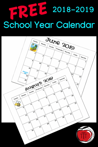 free school year calendar 2018-2019 terri's teaching treasures #calendar #schoolcalendar