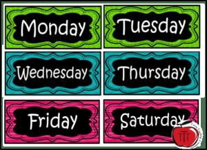 week day labels terri's teaching treasures