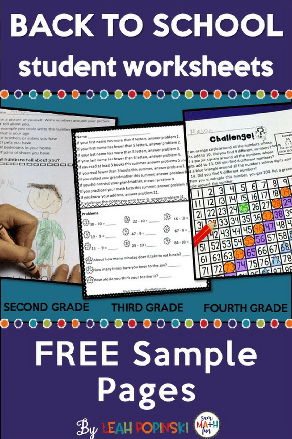 Back to School Free Student Worksheets