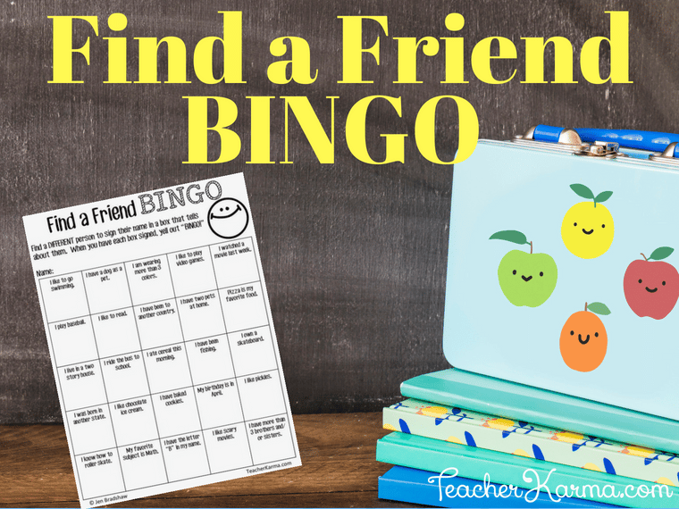 Find a Friend BINGO game for back to school #backtoschool #bts #teacherspayteachers #tpt #teacherkarma #icebreakers
