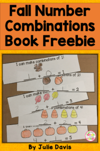 Students will learn different addition combinations 1-5 while making their own math book. This is a fun free fall worksheet great for math centers! #mathcenters #freebie #addition #kindergarten #firstgrade