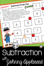 Subtract with Johnny Appleseed Math Center Game