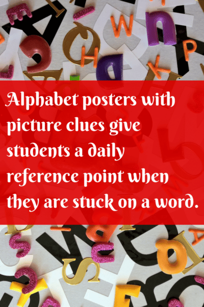 Phonics pictures on alphabet posters
