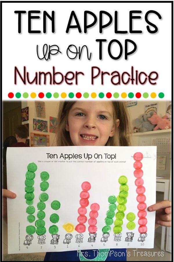 Fun number practice activities using Ten Apples up on Top