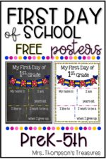 Free First Day of School Posters