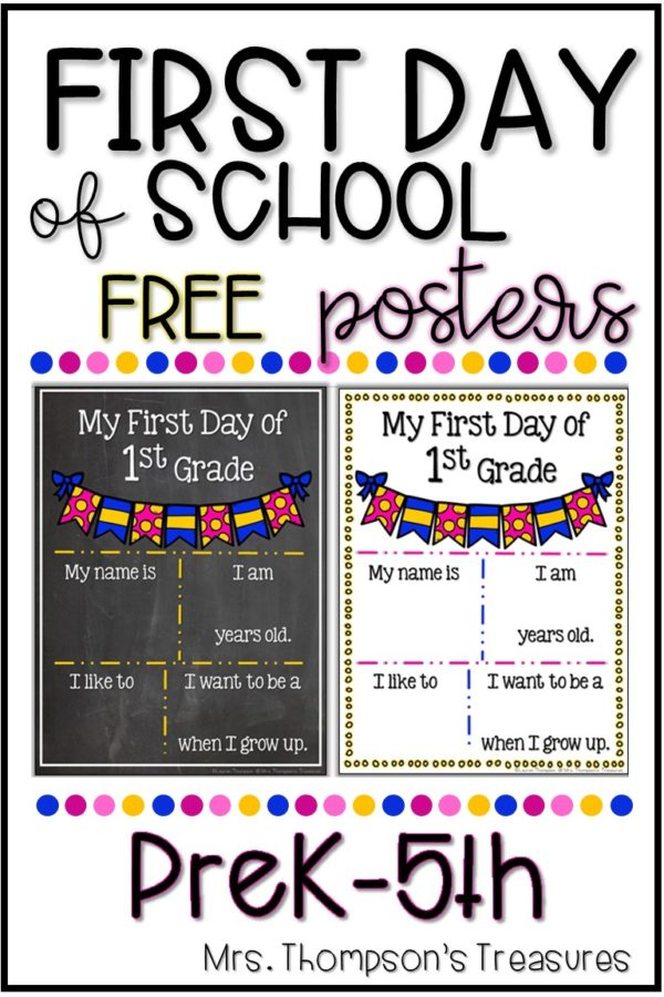 Free first day of school printable posters. #backtoschool #firstdayofschool