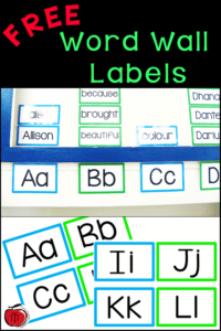 Free Word Wall Labels for your classroom Terri's Teaching Treasures