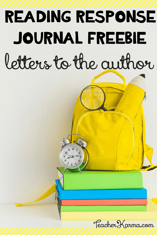 Free Reading response journal for writing letters to the author #authorstudy #readingresponsejournal