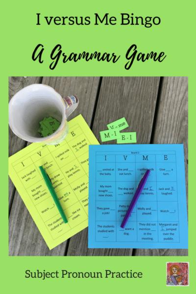 I or Me bingo grammar game pronoun practice
