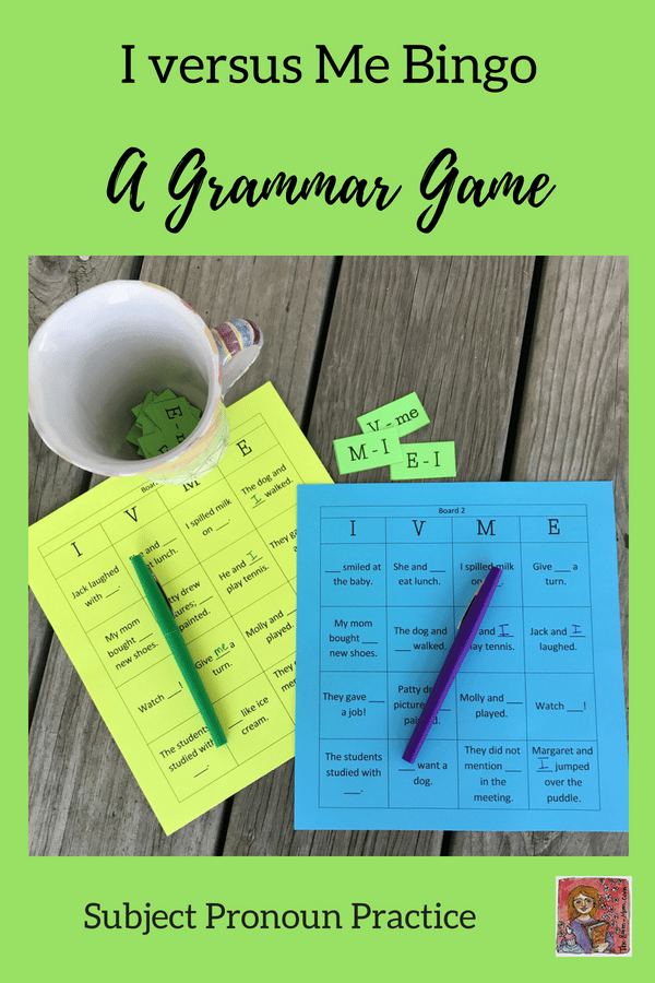 I or Me grammar bingo game pronoun practice