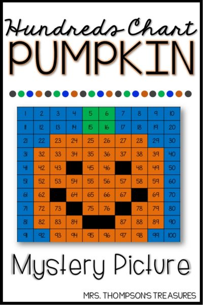 Hundreds chart mystery picture of a pumpkin.