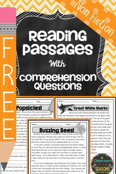 Reading Comprehension Passages #classroom freebies #readingcomprehension