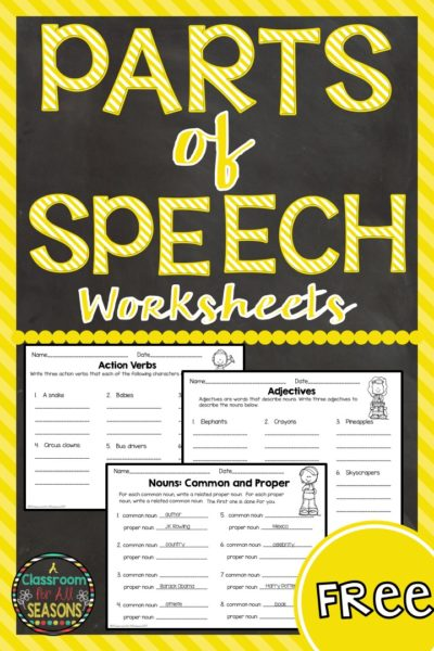 Parts of Speech Freebie #classroomfreebies #Partsofspeech