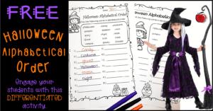 Free Halloween Alphabetical order worksheets Terri's Teaching Treasures