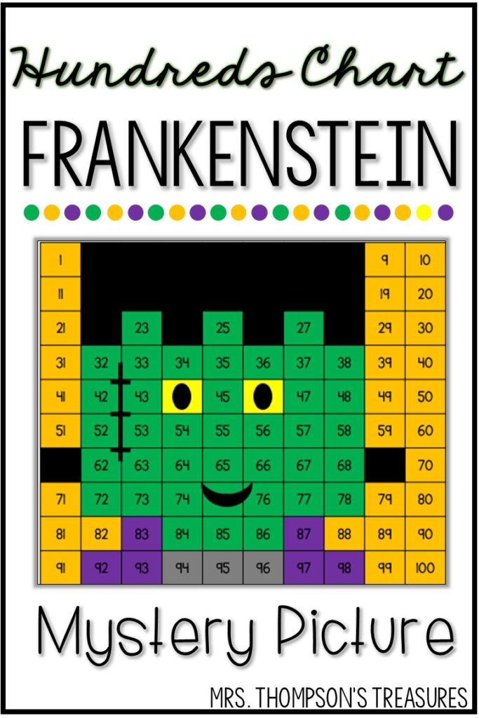 Halloween Frankenstein hundreds chart mystery picture.