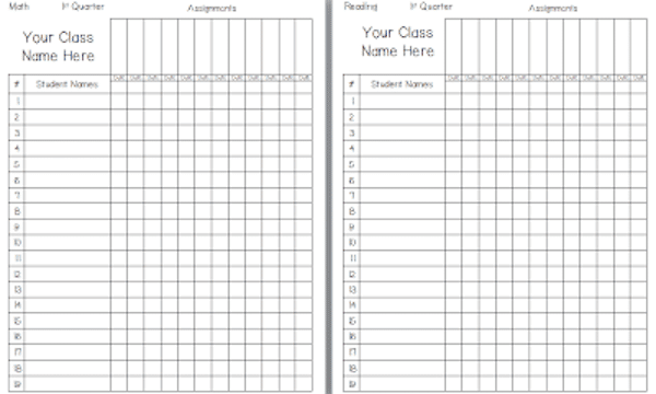 Need a blank template for taking student grades?  CF has you covered!  #gradebook #teacherprintable