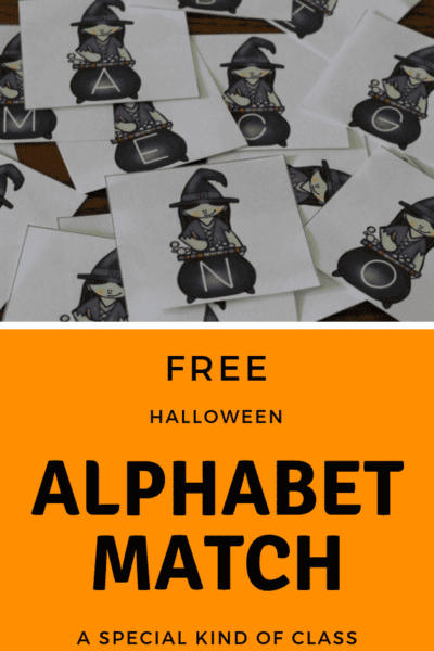 Free Alphabet Matching Cards for Halloween