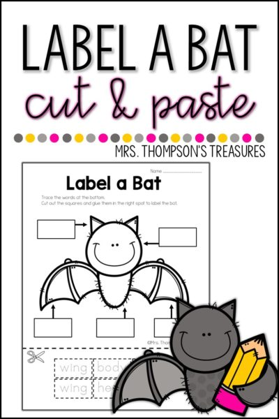 Free label a bat printable cut and paste activity.