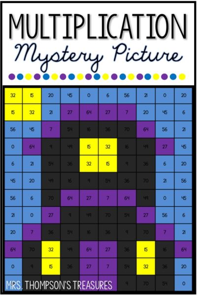 Free multiplication mystery picture for Halloween.