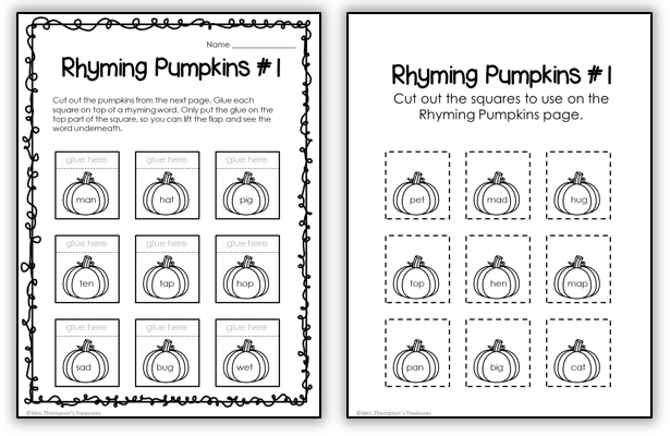 Rhyming cvc words with pumpkin theme