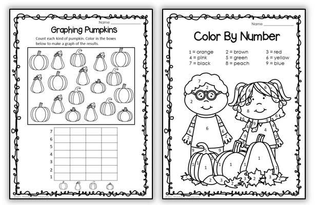 Pumpkin worksheets - graphing and color by number