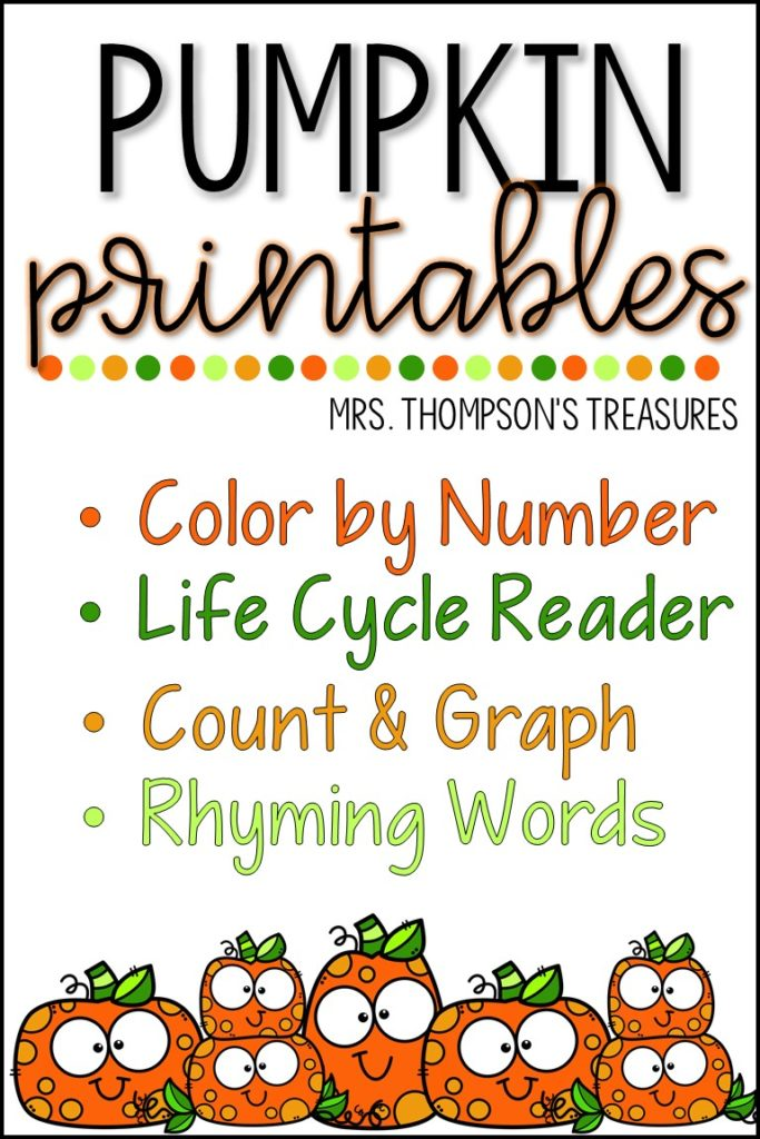Free pumpkin printables - color by number, graphing, rhyming, life cycle reader.