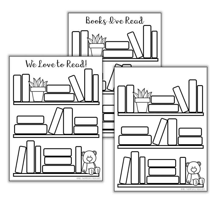 Reading log bookshelf templates