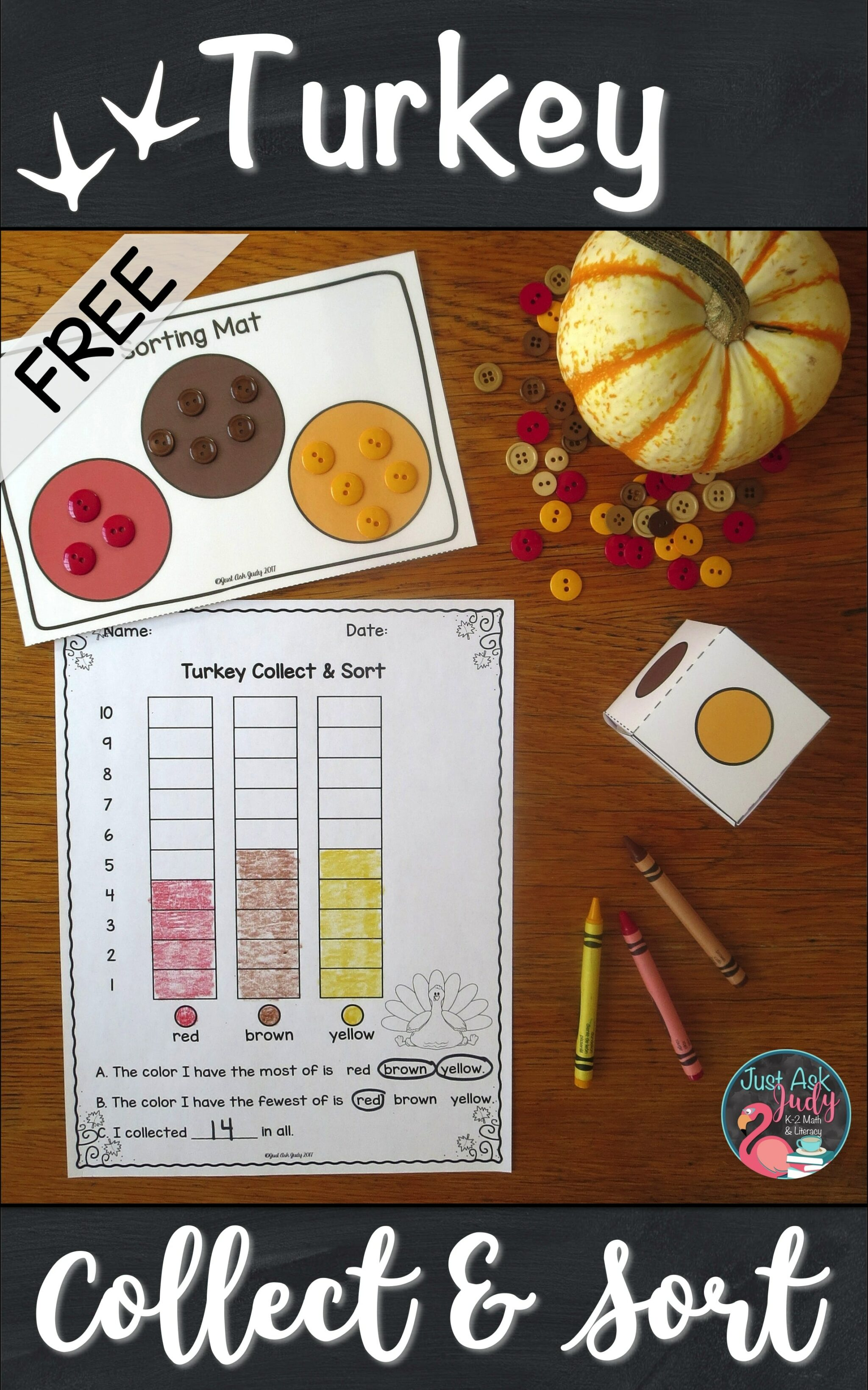 Try this free turkey-themed partner sorting and counting activity. Engage your preschool, kindergarten, and early first grade students with this hands-on activity! #turkeys #MathCenters #TallyMarks