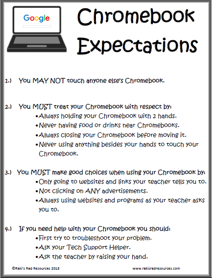 Set expectations for chromebooks in order to help your students be successful with one to one devices. Chromebooks in the classroom is made much easier with this free expectation poster.